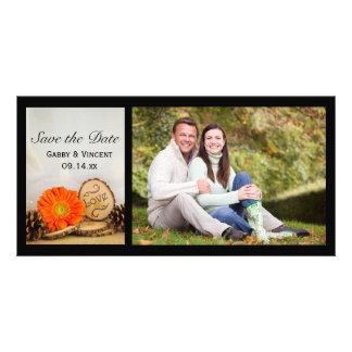 Rustic Orange Daisy Woodland Wedding Save the Date Card