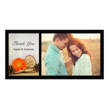 Wedding Themed Rustic Orange Daisy Woodland Wedding Thank You Card