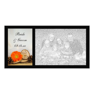 Rustic Orange Daisy Woodland Wedding Thank You Card