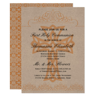 Rustic Orange First Holy Communion Cross Invites