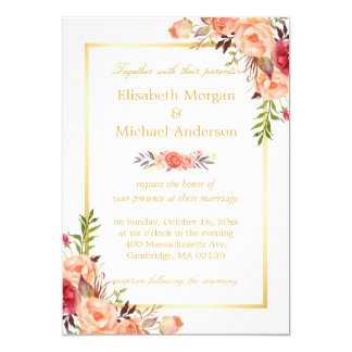 Rustic Orange Floral Chic Gold White Fall Wedding Card