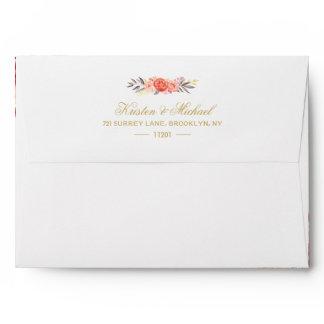 Rustic Orange Floral Chic Wedding 5x7 Envelope