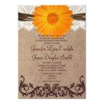 Rustic Orange Gerber Daisy Lace Wedding Invitation Personalized Invites