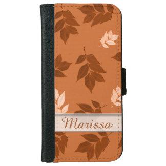 Rustic Orange Leaf Custom Name iPhone 6/6s Wallet Case
