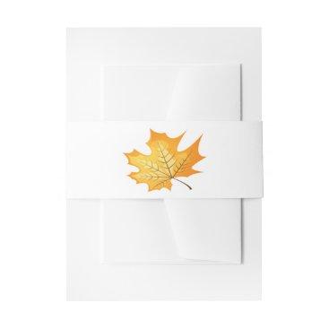 merrybrides Rustic Orange Leaf Wedding - Rustic, Autumn, Fall Invitation Belly Band