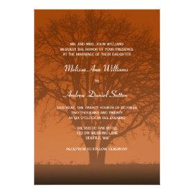 Rustic Orange Oak Tree Wedding Custom Invitation