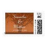 Rustic Orange Oak Tree Wedding Postage