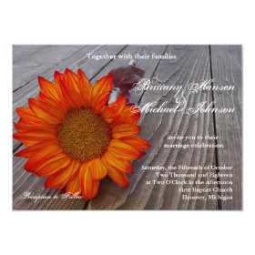 Rustic Orange Red Sunflower Wedding Invitation