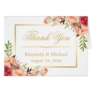 Rustic Orange Rose Flowers Gold Frame Thank You Card