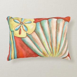Rustic Orange Seashells Accent Pillow