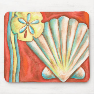 Rustic Orange Seashells Mouse Pad