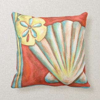 Rustic Orange Seashells Throw Pillow
