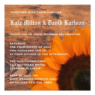Rustic Orange Sunflower Country Wedding Invitation