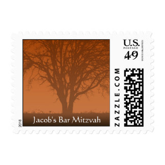 Rustic Orange Tree of Life Bar Mitzvah Postage