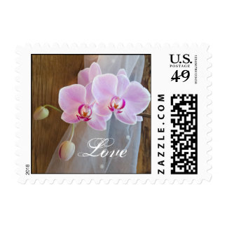 Rustic Orchid Elegance Country Wedding Love Stamp
