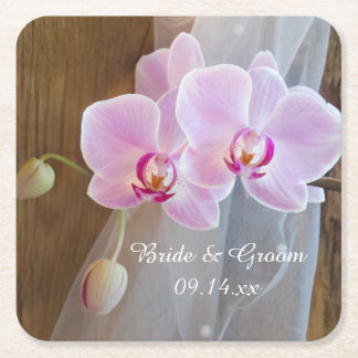Rustic Orchid Elegance Country Wedding Square Paper Coaster
