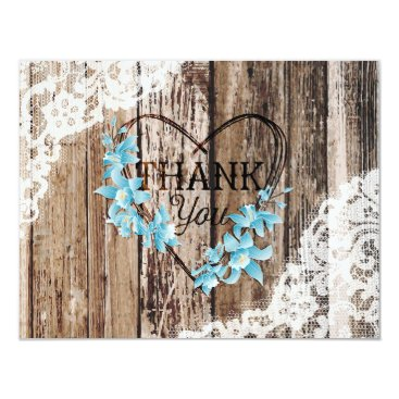 Rustic Orchid Wood Lace Thank You Note Card