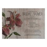 Rustic Oriental Lily Bridal Shower Invitations Invite
