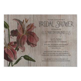 Rustic Oriental Lily Bridal Shower Invitations