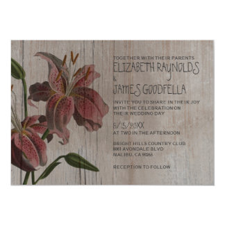 Rustic Oriental Lily Wedding Invitations