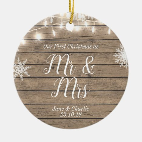 Rustic Our First Christmas as Mr and Mrs Ceramic Ornament