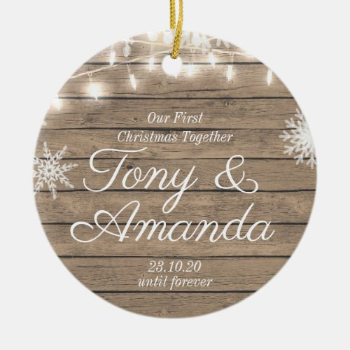 Rustic Our First Christmas Together Ornament