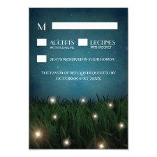 Rustic Outdoor Garden Firefly Wedding RSVP Cards