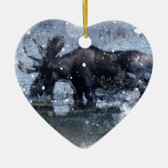 Rustic outdoorsman  wilderness wildlife bull moose ceramic ornament