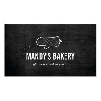 Rustic Oven Mitt Logo on Black Wood for Bakery Business Card