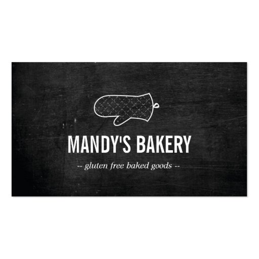 Rustic oven mitt logo on black wood for bakery business card zazzle