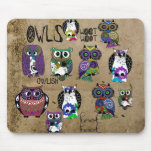 Rustic Owl Design Mouse Pad