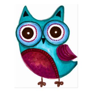 Rustic Owl in Teal Purple Post Cards