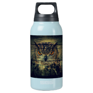 rustic owl on barnboard design insulated water bottle