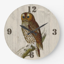 Rustic Owl Wall Clock