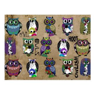 Rustic Owls Folk Art Postcard