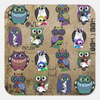 Rustic Owls Folk Art Sticker