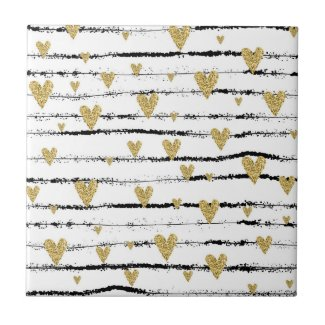 Rustic painted golden hearts on black strings tile