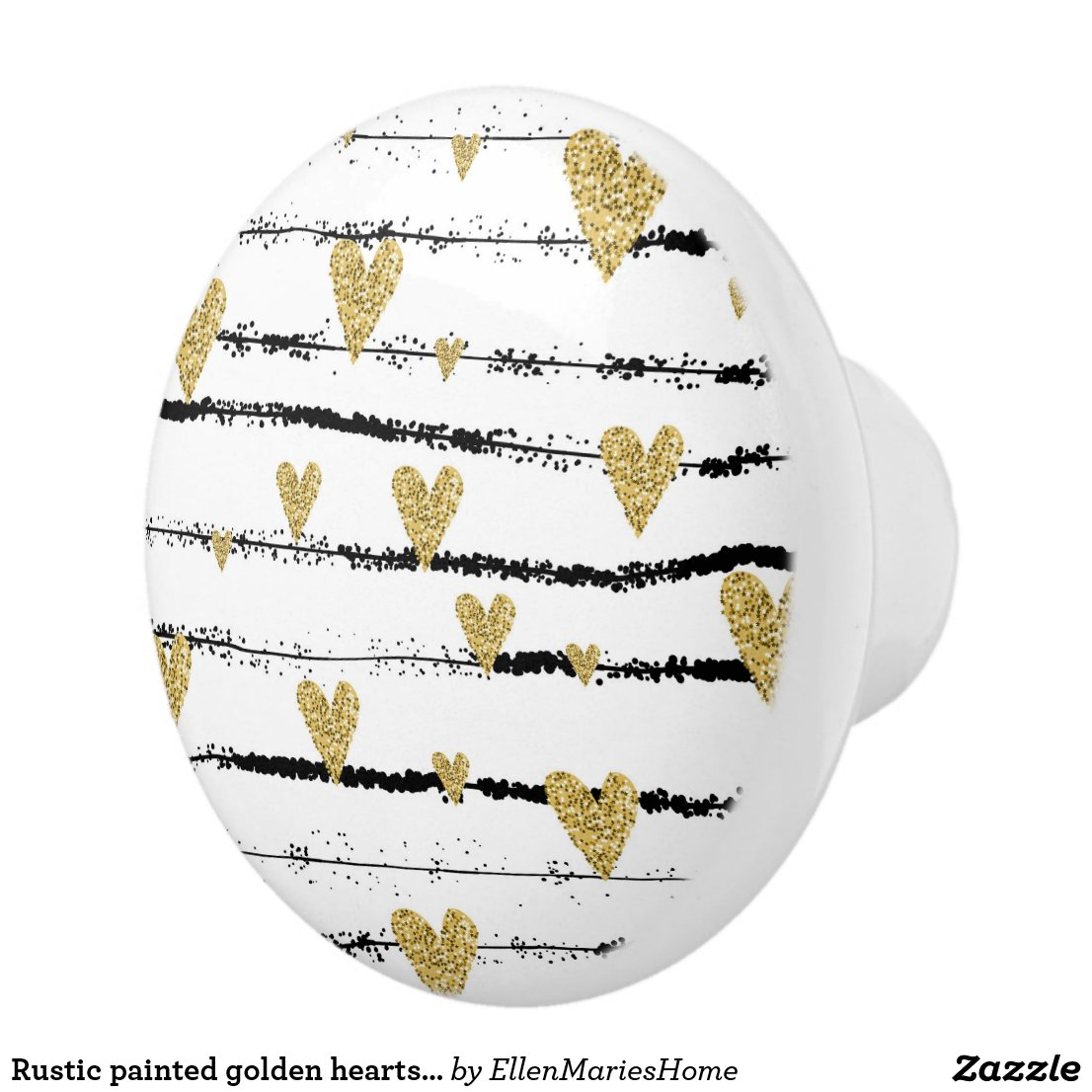 Rustic painted golden hearts on black stripes ceramic knob
