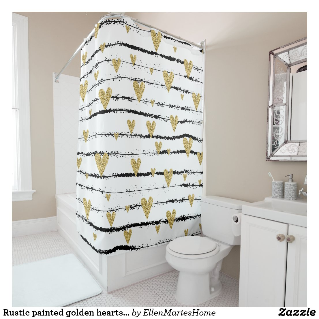 Rustic painted golden hearts on black stripes shower curtain