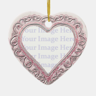 Rustic Painted Heart Frame Double-Sided Heart Ceramic Christmas Ornament