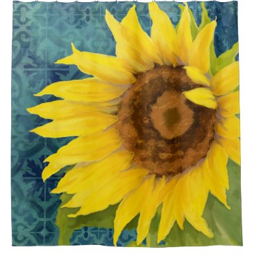 Beach Themed Rustic Painted Sunflower Old Havana Tile Pattern Shower Curtain