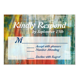 Rustic Painted Wood Artistic Wedding RSVP Cards