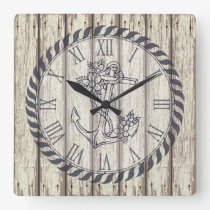 Rustic Painted Wood Planks Floral Nautical Anchor Square Wall Clock