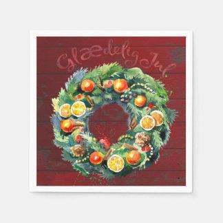 Rustic Painted Wreath with Danish Jul Greeting Paper Napkin