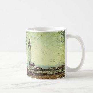 rustic painting seashore landscape light house coffee mug