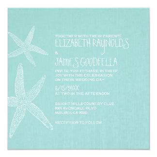 Rustic Pair of Starfish Wedding Invitations Custom Invite