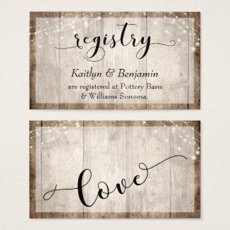 Rustic Pale Brown Wood w/ Lights, Wedding Registry Business Card