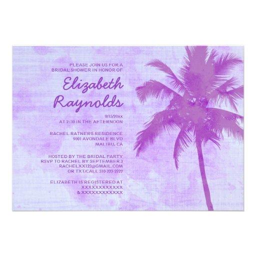 Rustic Palm Trees Beach Bridal Shower Invitations Invitations