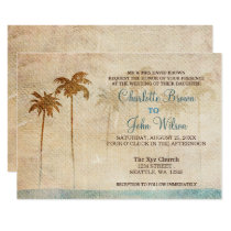 Rustic Palm Trees Beach Wedding Invitations