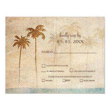 Rustic Palm Trees Beach Wedding rsvp Card